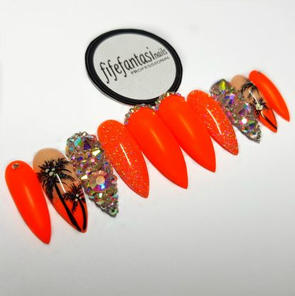 set of long stiletto neon orange with Swaarovski crystals, press on nails
