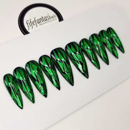 green shattered glass press on nails