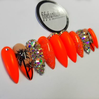 set of nails, long stiletto, neon orange with palms and Swarovski crystals