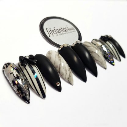black and white long stiletto press on nails