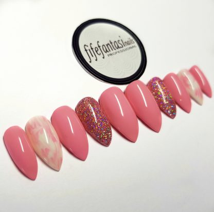 pink marble stiletto false nails