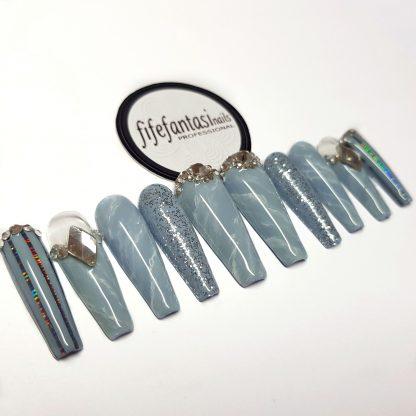 grey marble press on nails ballerina