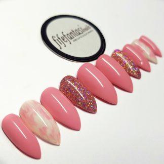 pink stiletto press on nails