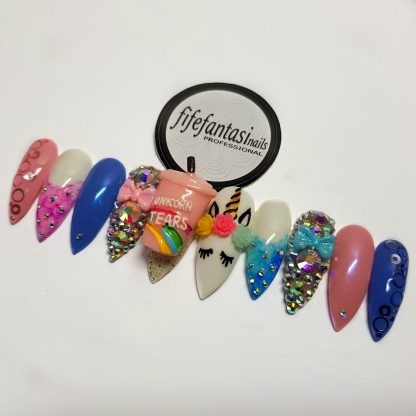 unicorn nails, press on nails, false nails