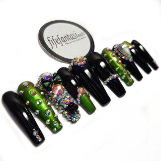 long ballerina nails, green emerald with crystals