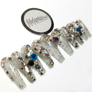set of clear long ballerina with crystals