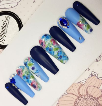 Blue matte long ballerina nails, floral nailart, blue crystals