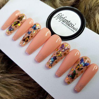 butterflies nails, long ballerina, nude nails, glitter nails, coffin nails, press on nails, false nails, acrylic nails