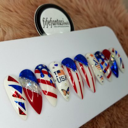4th July Press on Nails, American Flag Nails, USA Patriotic Long Stiletto False Nails, Red Acrylic nails, Blue Nail Art, party nails, long stiletto nails