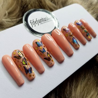 Butterfly nude press on nails