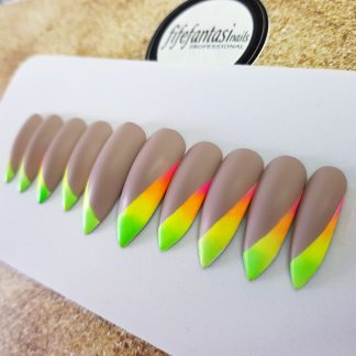 rainbow matte nails, nude press on nails, long stiletto nails