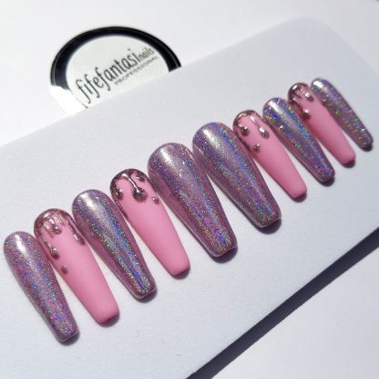 long ballerina press on nails with holo effect